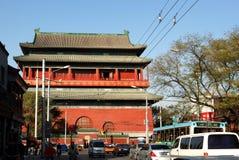 北京在街道水平的鼓塔 免版税库存图片