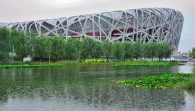 北京奥林匹克下雨的体育场 库存照片