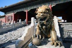 北京故宫镀金面古铜狮子 库存图片
