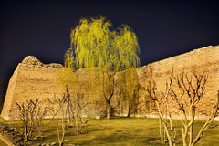 北京瓷城市公园结构树墙壁杨柳 库存图片