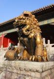 北京瓷城市禁止的监护人狮子 库存照片