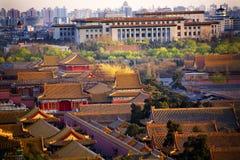 北京瓷大厅亭子红色 库存照片