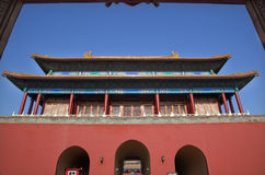 北京禁止的市门给红色装门 免版税库存图片