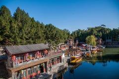 北京颐和园北宫门苏州街 库存图片