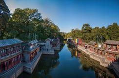 北京颐和园北宫门苏州街 库存照片