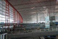 北京首都国际机场离开终端在中国 免版税库存图片