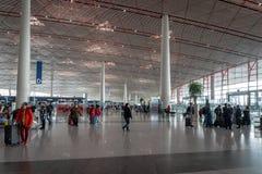 北京首都国际机场离开终端在中国 库存照片