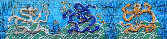 北京龙墙壁 库存照片