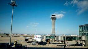 北京,中国- 2018年1月1日:中国机场在北京 航空器为飞行离开准备 免版税库存照片