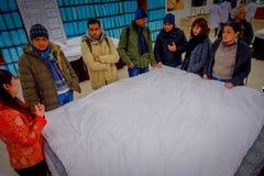 北京,中国- 2017年1月29日, :参观的繁体中文丝绸工厂,进行他们任务创造的工作者 图库摄影