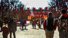 北京,中国2月2日2014年:一千人在Ditan公园参观寺庙市场在汉语新春佳节期间在北京, 影视素材