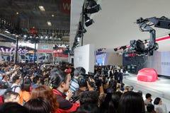 北京, 2014年4月20日,在第13北京国际汽车陈列的起亚马达 库存照片