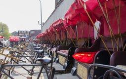 北京什刹海,中国人力车  库存照片