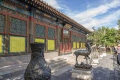 北京 夏天故宫 在幸福和长寿前(Leshoutang)的霍尔的古铜色图 库存照片