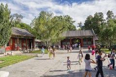 北京 夏天故宫 看法其中一个住宅部分的庭院 库存图片