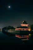 北京紫禁城塔楼在夜 图库摄影