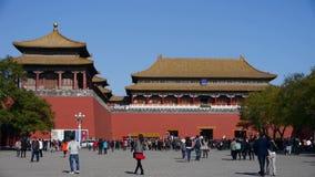 北京紫禁城&游人,中国的皇家建筑学,子午门 影视素材