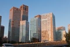 北京cbd地平线日落 免版税图库摄影
