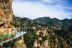 北京tianyun山玻璃走的足迹 免版税库存图片