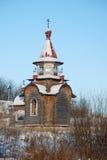 北俄国修道院在冬天。 库存照片