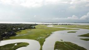 北卡罗来纳潮汐小河沼泽BHI秃头海岛小游艇船坞 股票录像