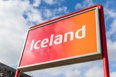 北安普顿英国2017年10月3日:冰岛商标签署北安普顿集中 免版税库存图片