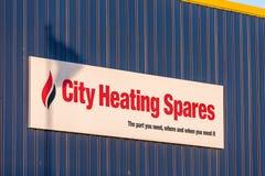 北安普顿英国2018年1月04日:城市热化备用商标签到Sixfields工业园 免版税库存照片