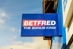 北安普顿英国2017年10月3日:打赌商标标志立场北安普顿工业庄园的Betfred 库存图片