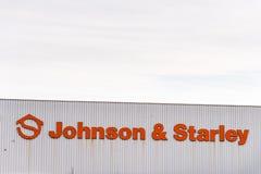 北安普顿英国2017年12月07日:约翰逊和Starley商标签到Brackmills工业庄园 免版税库存图片