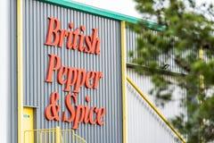 北安普顿英国2017年12月07日:英国胡椒和香料商标签到Brackmills工业庄园 免版税库存图片