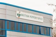 北安普顿英国2017年12月07日:英国胡椒和香料商标签到Brackmills工业庄园 库存照片