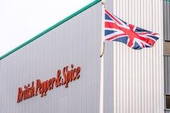 北安普顿英国2017年12月07日:英国胡椒和香料商标签到Brackmills工业庄园 免版税库存照片