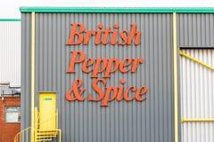 北安普顿英国2017年12月07日:英国胡椒和香料商标签到Brackmills工业庄园 库存图片