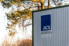 北安普顿英国2017年12月09日:ASC办公室解答商标签到Brackmills工业庄园 免版税图库摄影