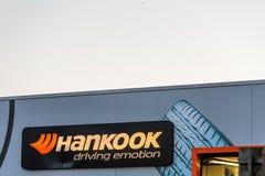 北安普顿英国2018年1月04日:Hankook轮胎商标签到Sixfields零售公园 库存图片