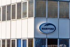 北安普顿英国2017年12月07日:Maritima送货业务商标签到Brackmills工业庄园 免版税库存照片