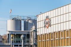 北安普顿英国2017年12月07日:Miswa化学制品工厂商标签到Brackmills工业庄园 库存照片