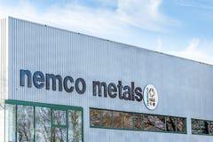 北安普顿英国2017年12月09日:Nemco金属商标签到Brackmills工业庄园 免版税库存图片
