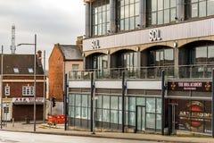 北安普顿英国2018年1月05日:SOL商标签署北安普顿集中 免版税库存图片
