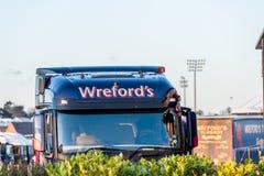 北安普顿英国2018年1月04日:Wreford小组在卡车客舱的商标标志在Sixfields工业园 免版税库存图片