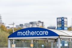 北安普顿,英国- 2017年10月26日:一个Mothercare商标的看法在Nene谷零售公园 图库摄影
