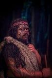 北岛,新的西兰17日2017年:关闭有传统上tatooed面孔的一个Tamaki毛利人领导人  图库摄影