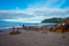 北岛,新的西兰16日2017年:开掘他们热水的游人自己的温泉城靠岸, Coromandel 130,000 免版税图库摄影
