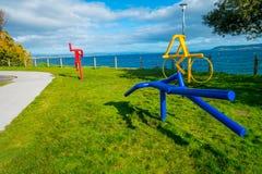 北岛,新的西兰18日2017年:美好的抽象派和可爱的陶波湖美丽的景色有山的 免版税库存图片