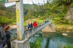 北岛,新的西兰16日2017年:走通过桥梁的未认出的人民穿过河参观 免版税库存图片