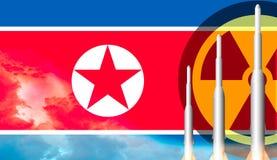 北朝鲜准备好导弹的武器发射 标志北部的韩国 免版税库存照片