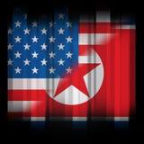 北朝鲜和美国人谈话旗子3d例证 库存例证