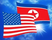 北朝鲜和美国国旗3d例证 库存例证