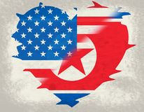 北朝鲜和美国外交旗子3d例证 库存例证