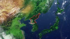 北朝鲜地图和边界 库存例证